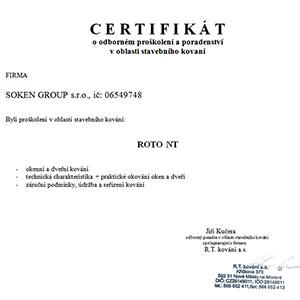 certifikat roto nt